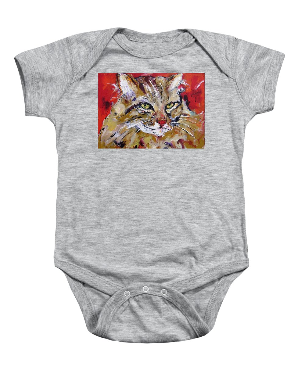 Cat Baby Onesie featuring the painting Feline Portrait by Mary Cahalan Lee- aka PIXI