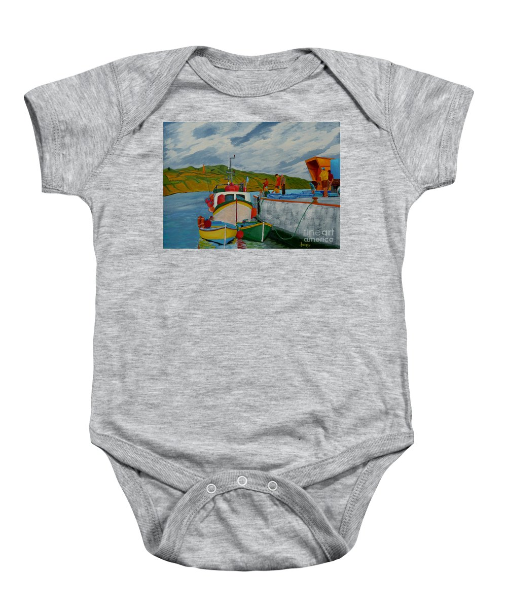 Boats Baby Onesie featuring the painting Catch Of The Day by Anthony Dunphy
