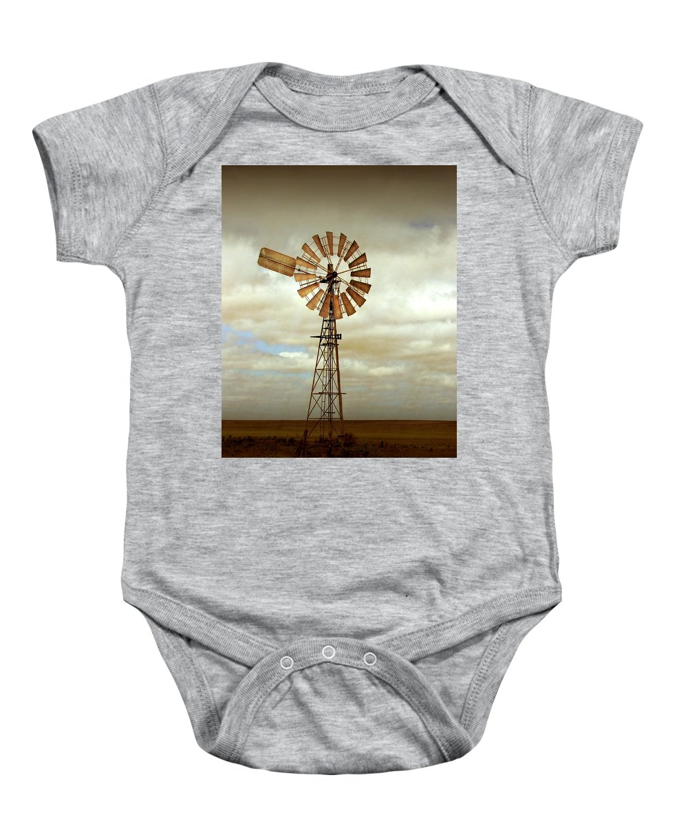 Windmill Baby Onesie featuring the photograph Catch The Wind by Holly Kempe