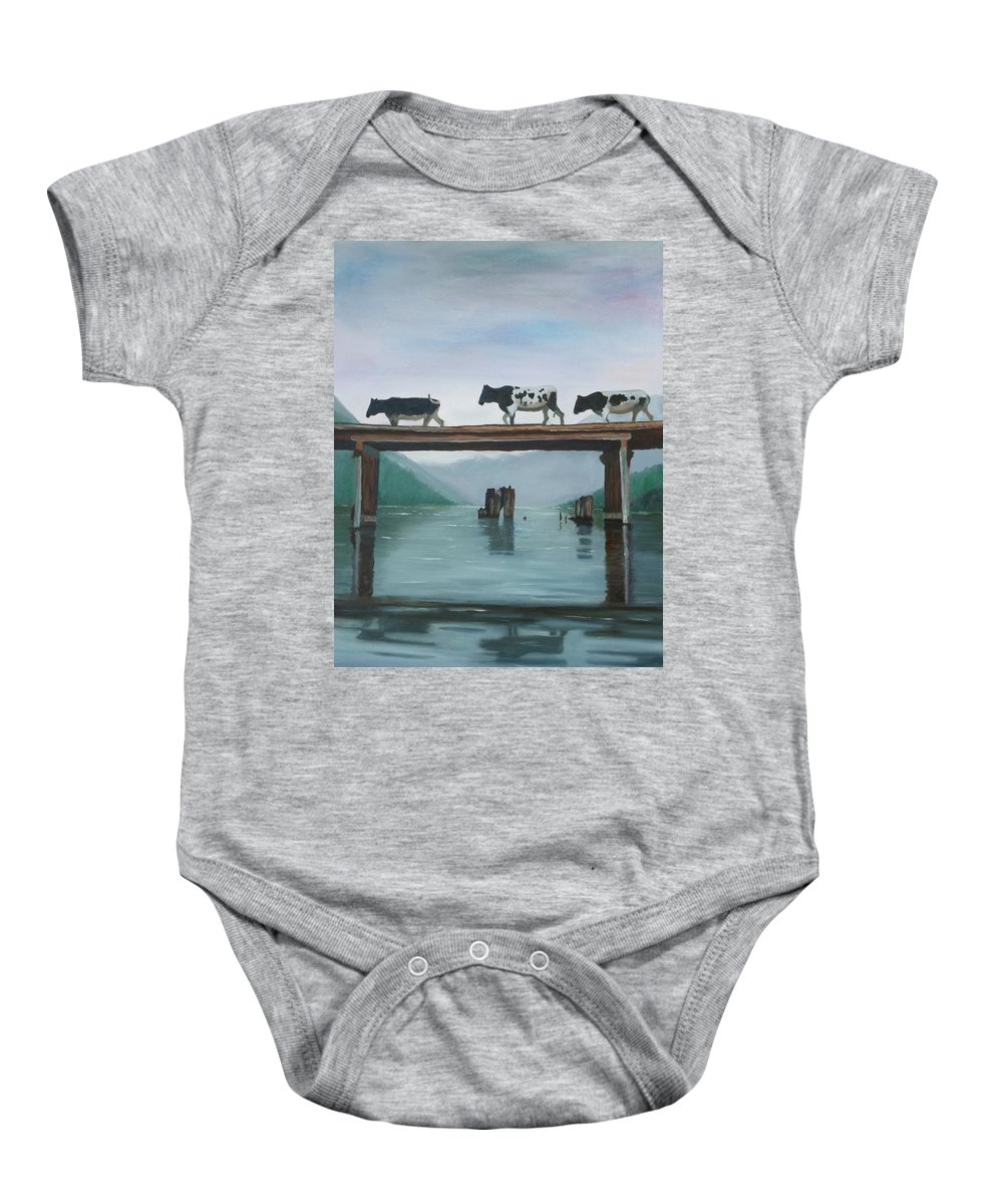 Cows Baby Onesie featuring the painting Cattle Crossing by Petra Stephens
