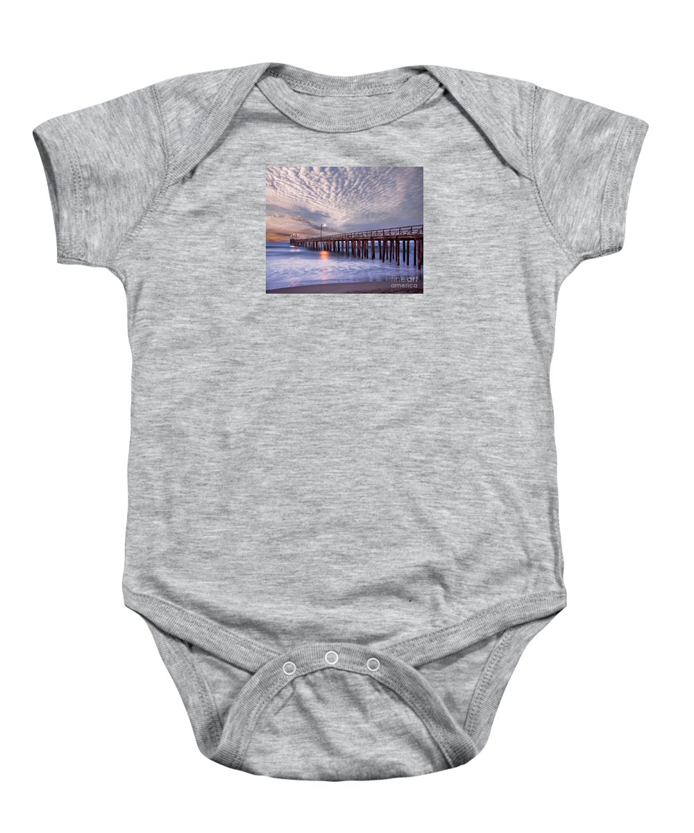 California Baby Onesie featuring the photograph Cayucos Pier by Alice Cahill