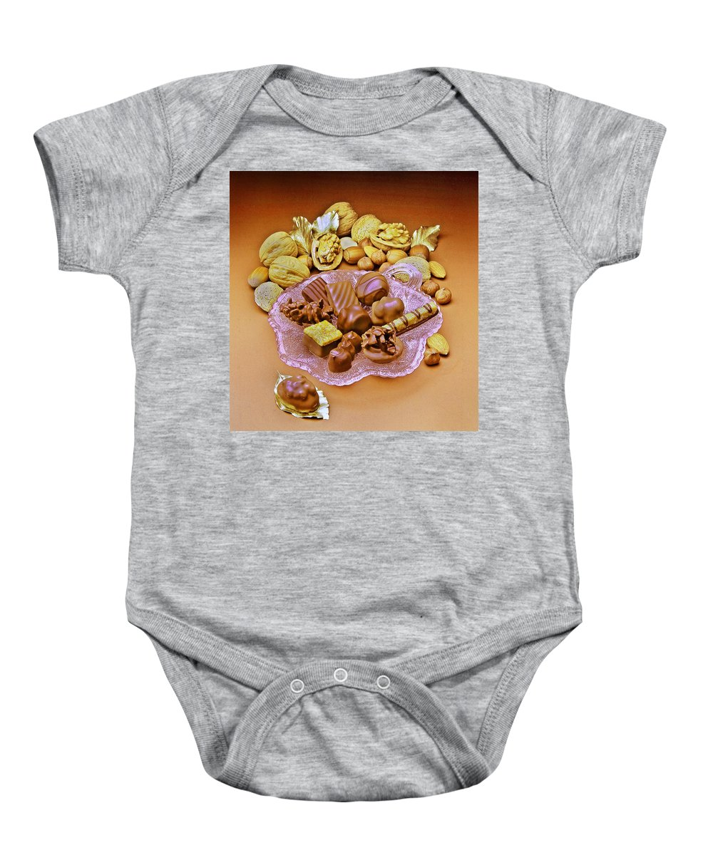 Schocolates Baby Onesie featuring the photograph Cchocolates And Sweets by Manfred Lutzius