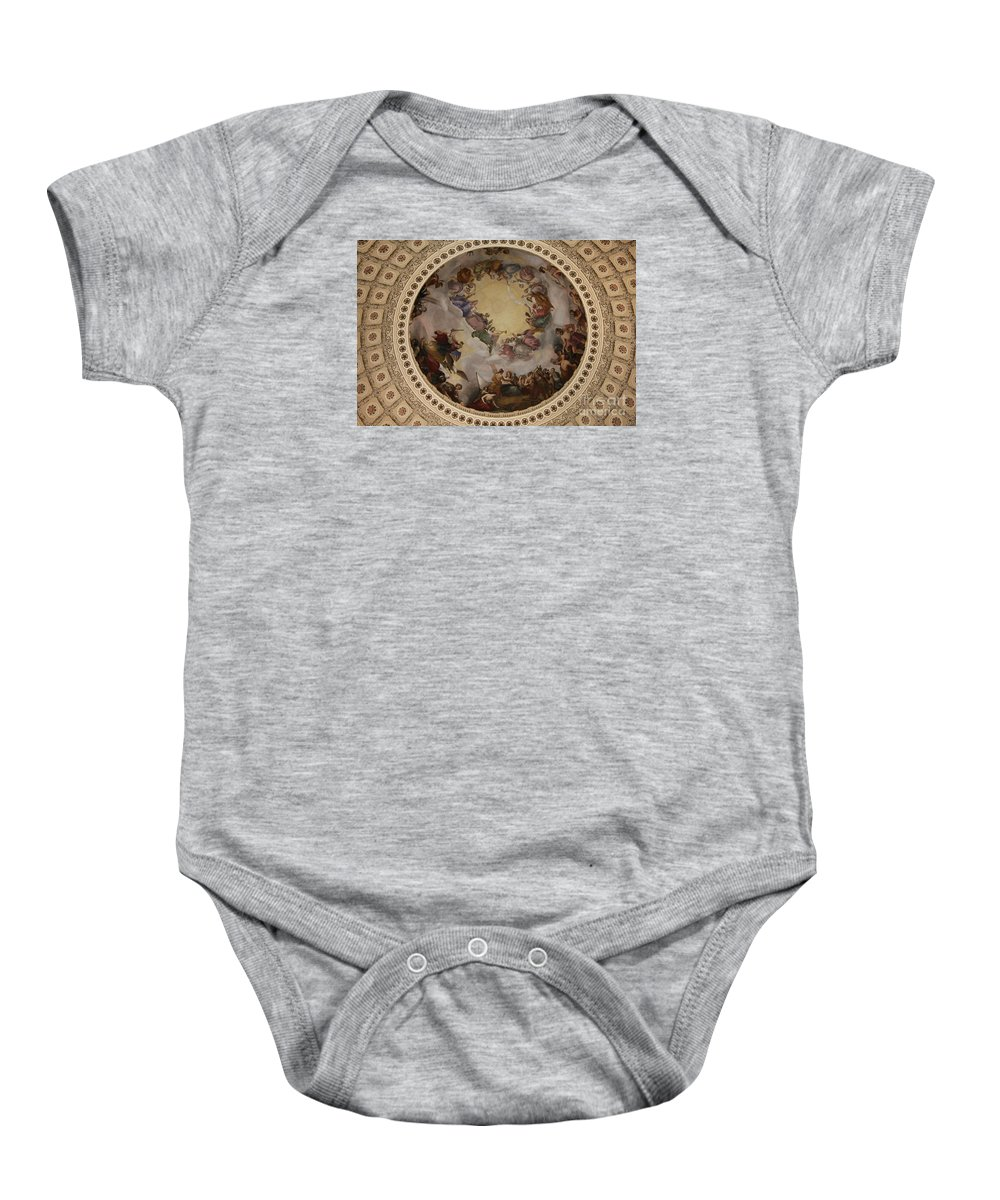 Cupola Baby Onesie featuring the photograph Ceiling Fresco - Cupola Capitol Washington Dc by Christiane Schulze Art And Photography