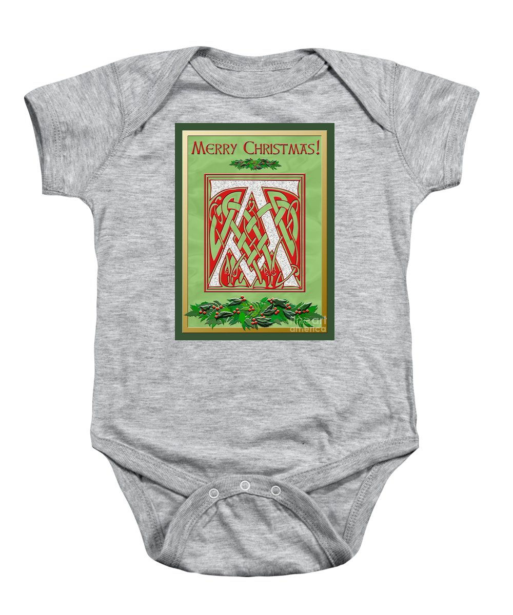 Monogram Baby Onesie featuring the digital art Celtic Christmas A Initial by Melissa A Benson