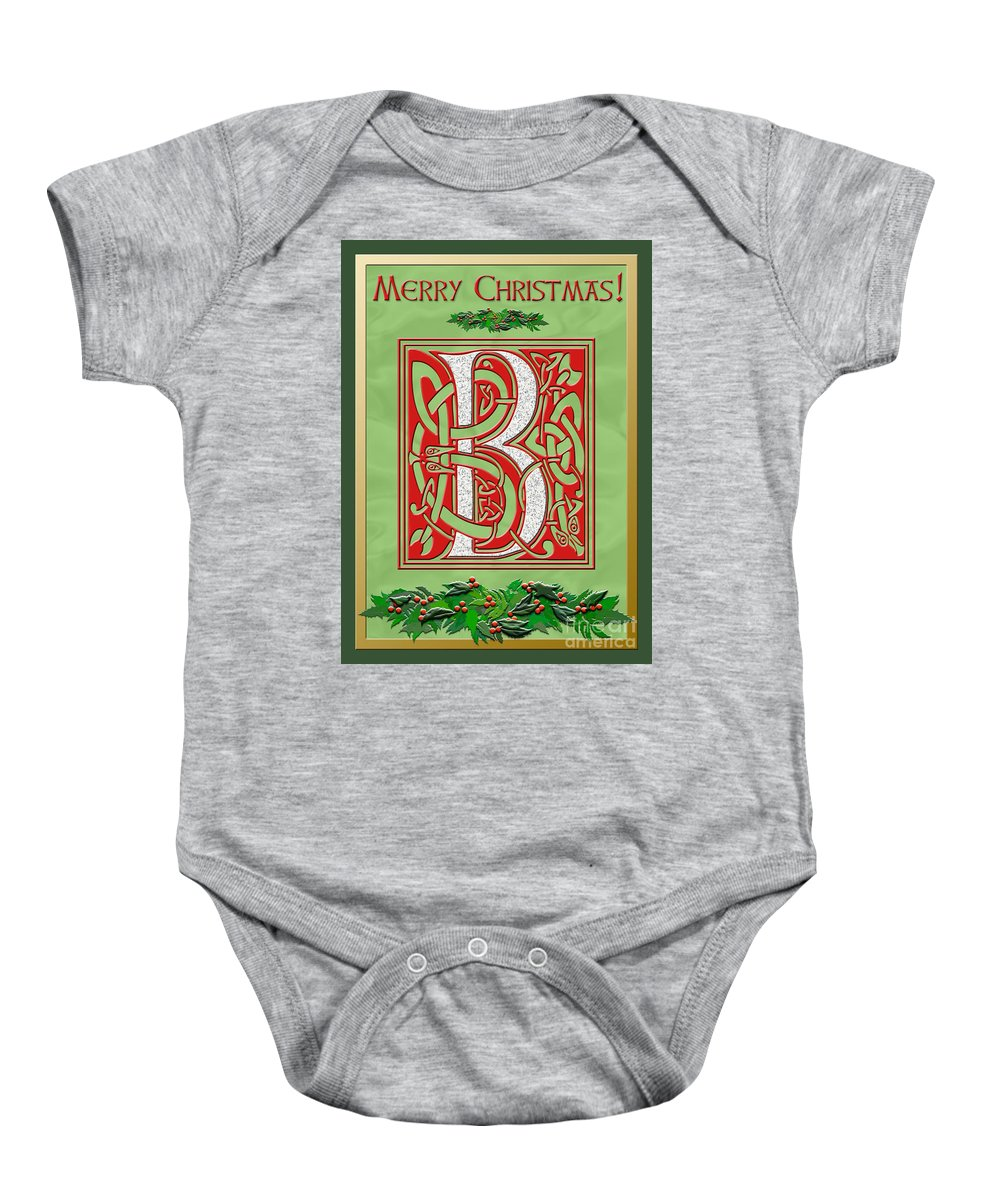 Monogram Baby Onesie featuring the digital art Celtic Christmas B Initial by Melissa A Benson