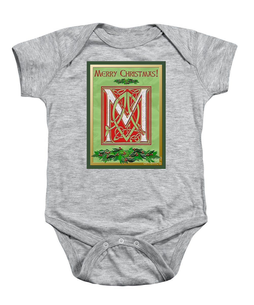 Monogram Baby Onesie featuring the digital art Celtic Christmas M Initial by Melissa A Benson