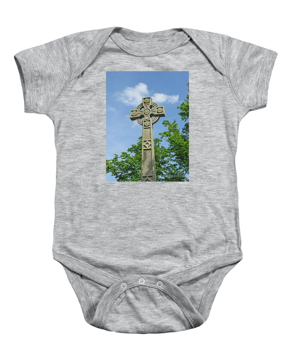 Cross Baby Onesie featuring the photograph Celtic Cross by Ann Horn