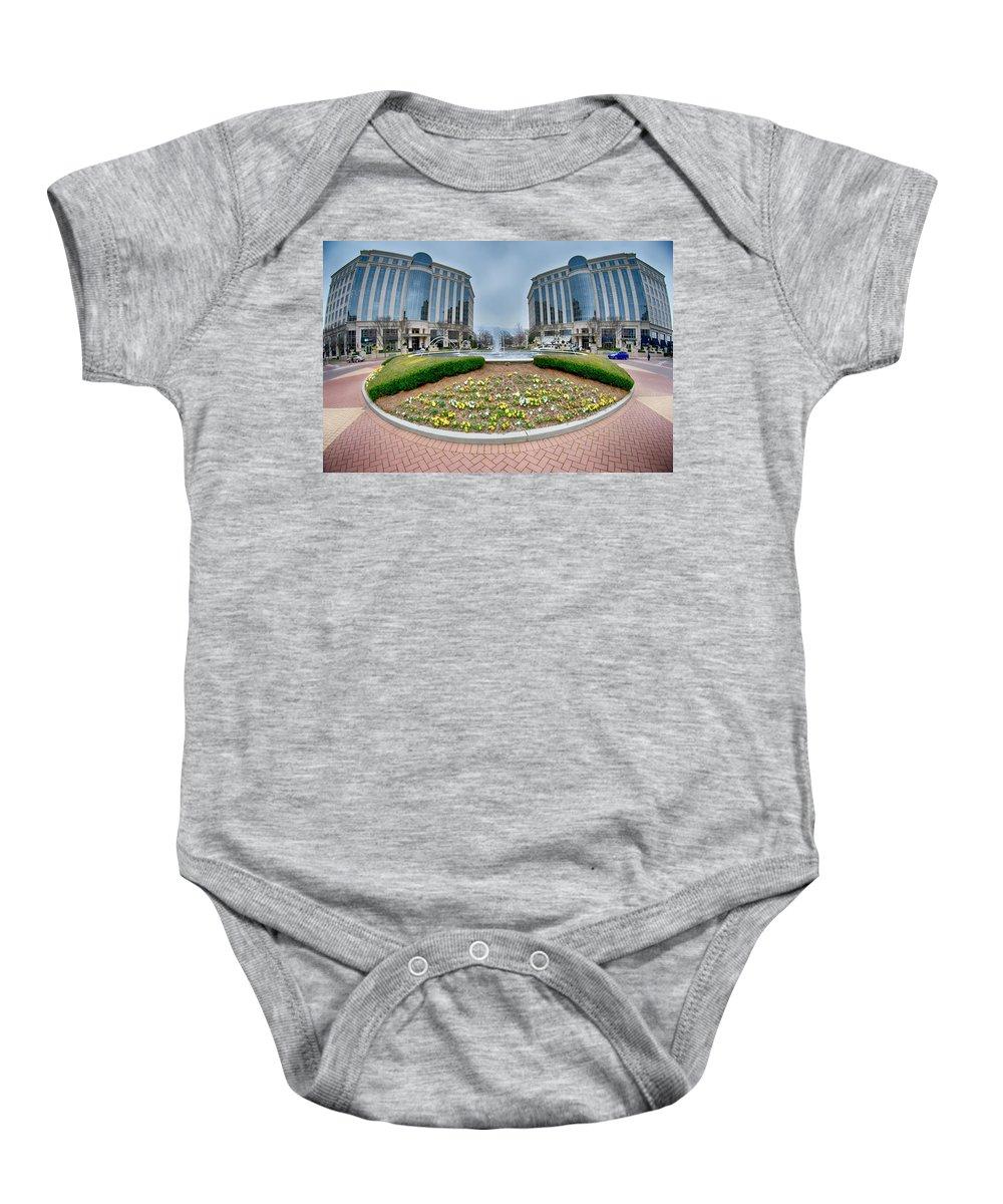 Center Baby Onesie featuring the photograph Center Fountain Piece In Piedmont Plaza Charlotte Nc by Alex Grichenko