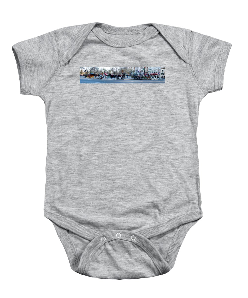 Animal Baby Onesie featuring the photograph Central Park Horse Carriage Station Panorama by Thomas Marchessault