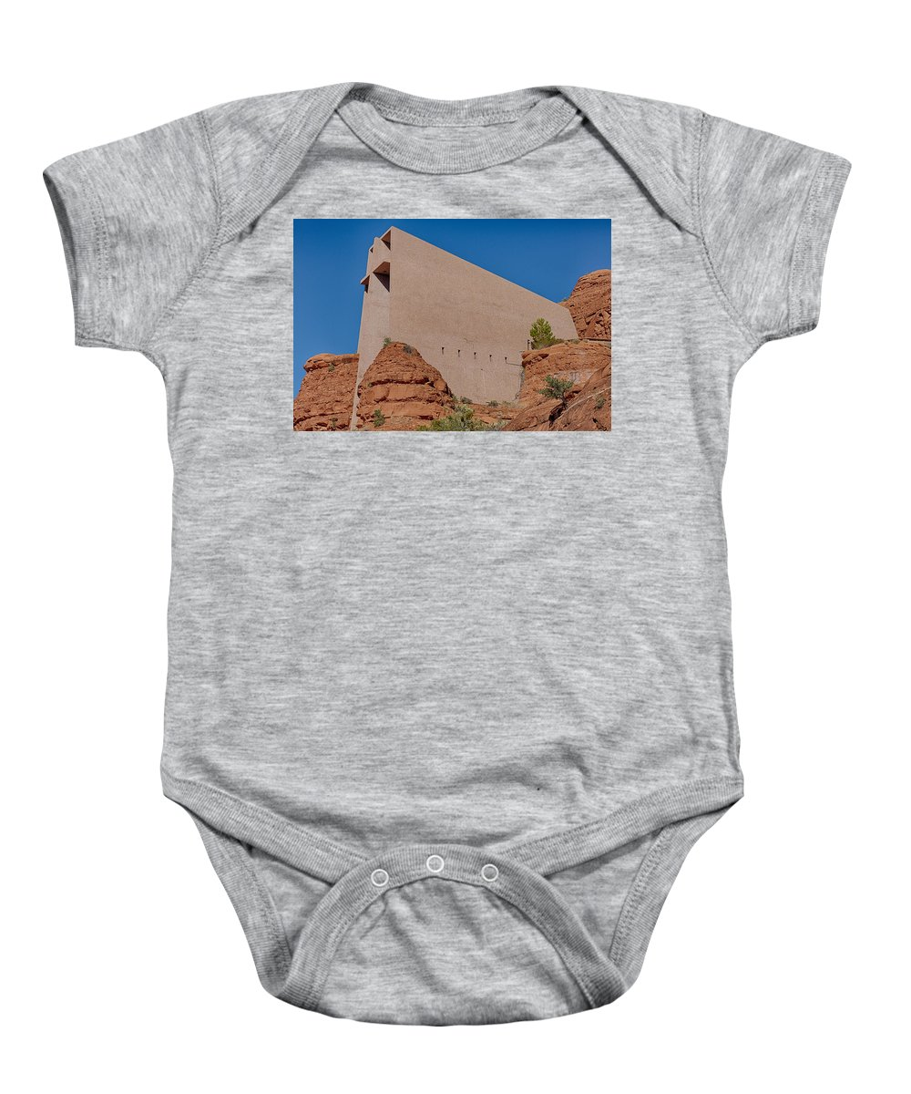 Cross Baby Onesie featuring the photograph Chapel Of The Holy Cross Sedona Az Side by Scott Campbell