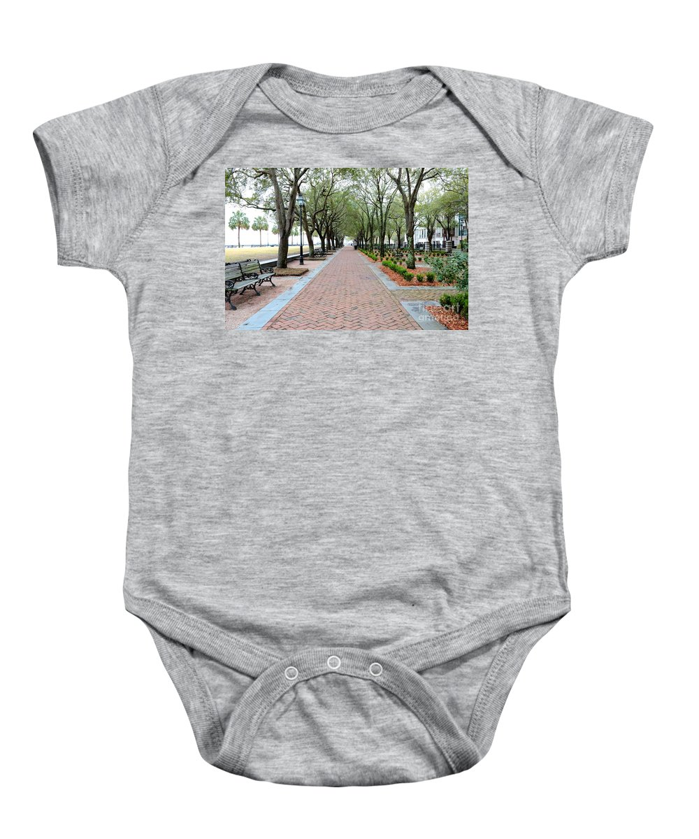 Charleston Baby Onesie featuring the photograph Charleston Waterfront Park Walkway by Carol Groenen