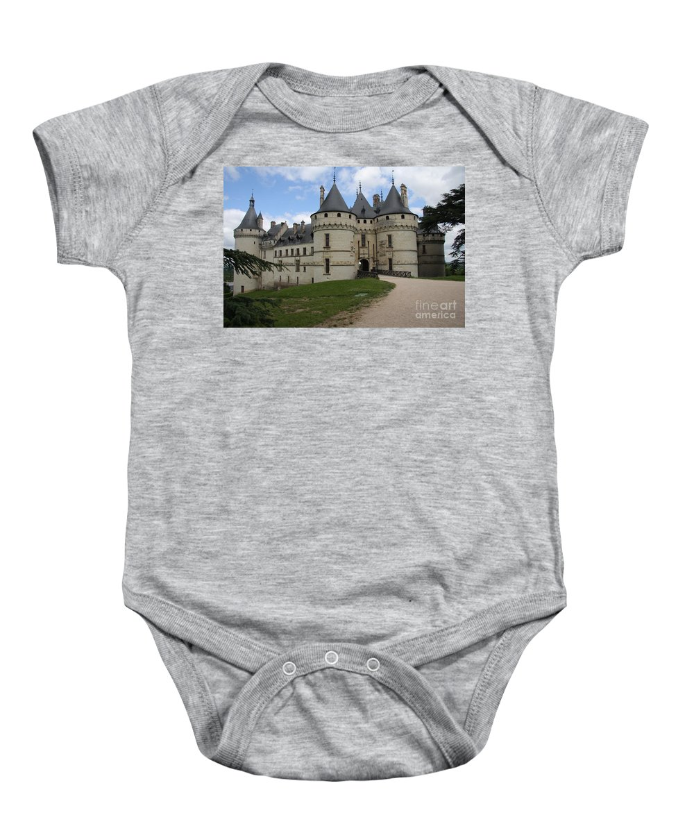 Palace Baby Onesie featuring the photograph Chateau Chaumont Steeples by Christiane Schulze Art And Photography