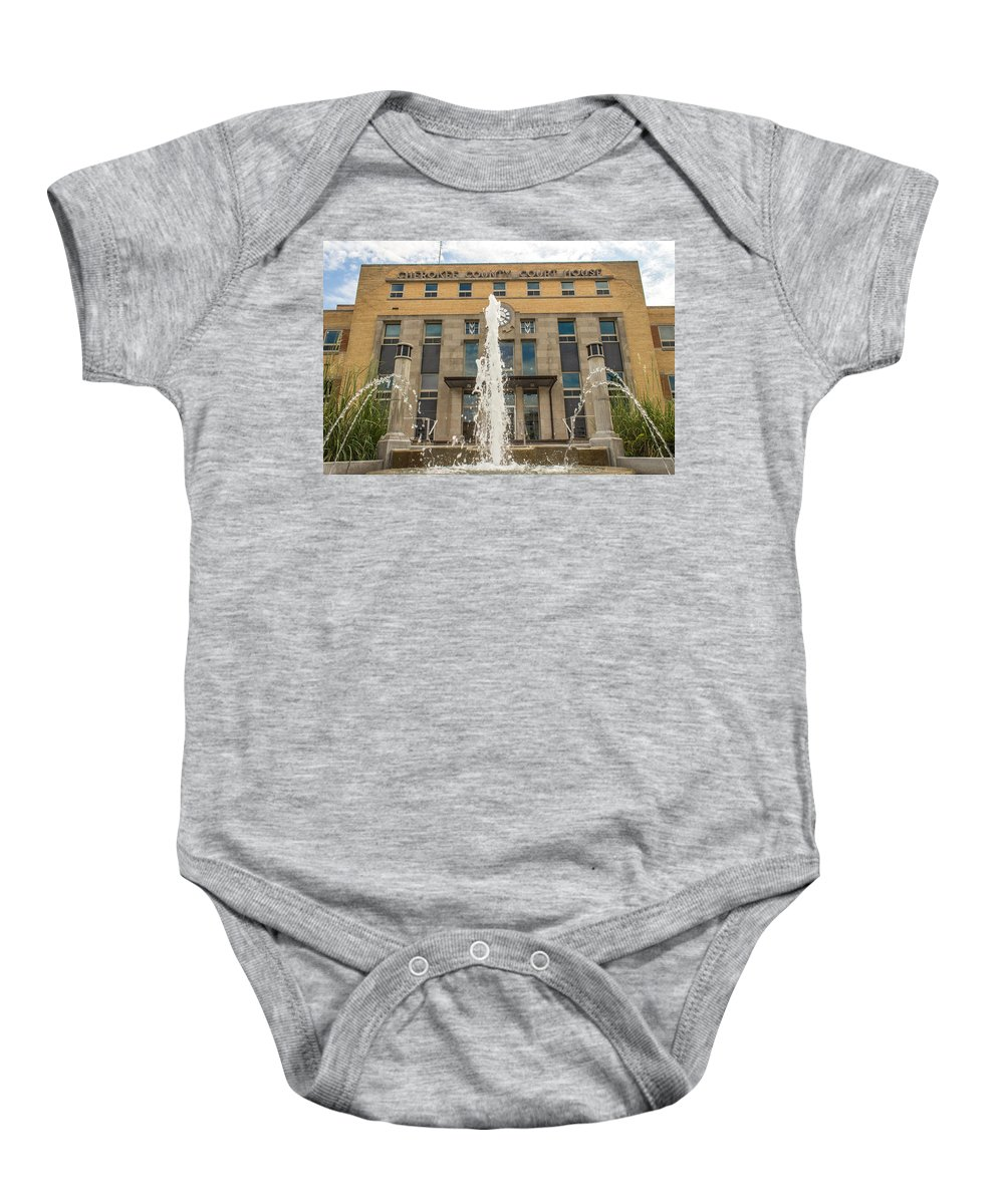 Court Baby Onesie featuring the photograph Cherokee County Courthouse 3 by Ken Kobe