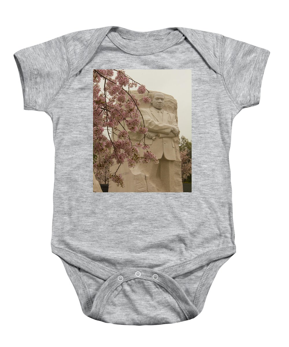 Tidal Basin Baby Onesie featuring the photograph Cherry Blossoms At The Martin Luther King Jr Memorial by Leah Palmer