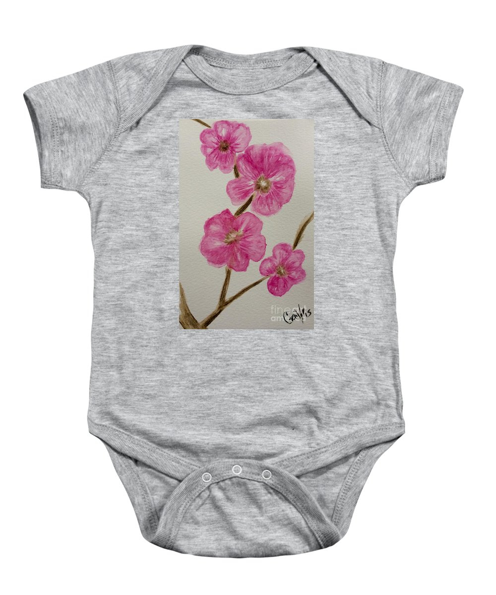 Cherry Blossoms Baby Onesie featuring the painting Cherry Blossoms Blooming by Gail Nandlal