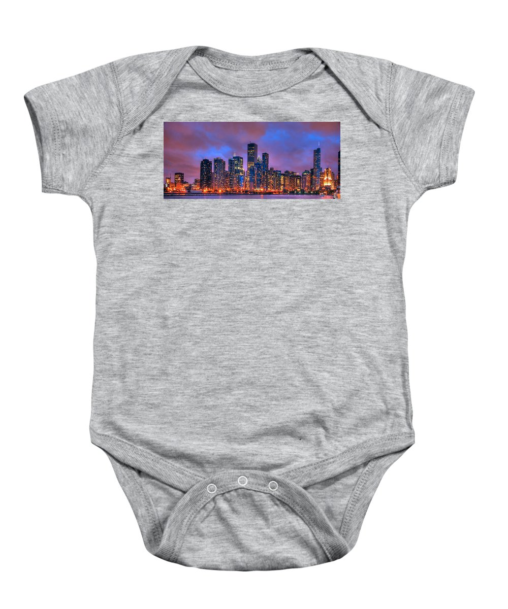 Chicago Skyline From Navy Pier Baby Onesie featuring the photograph Chicago Skyline From Navy Pier View 2 by Ken Smith
