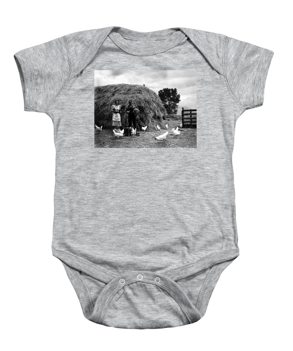 1939 Baby Onesie featuring the photograph Chicken Farmers, 1939 by Granger