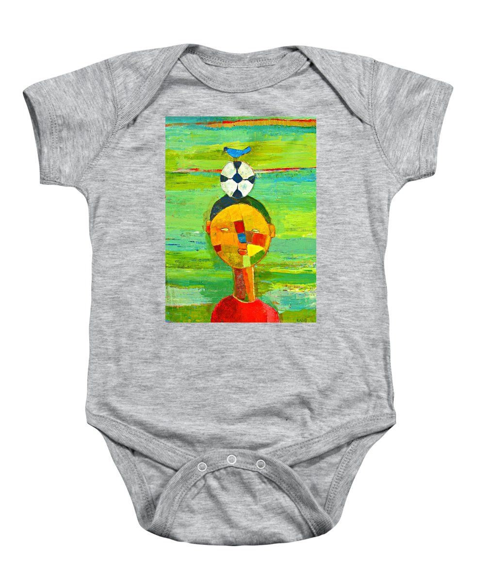 Childhood Baby Onesie featuring the painting Childhood Memories by Habib Ayat