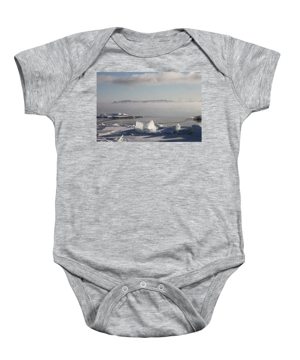 Sleeping Giant Baby Onesie featuring the photograph Chilly Giant by Chris Artist