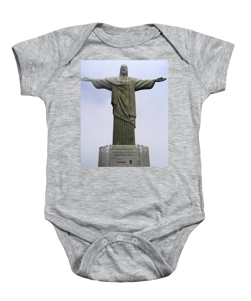 Statue Baby Onesie featuring the photograph Christ The Redeemer Rio by Jay Milo