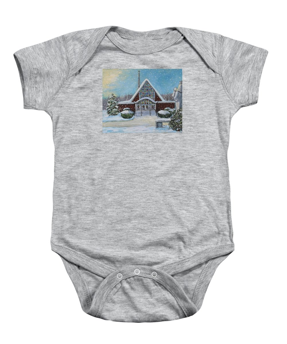 Landscape Baby Onesie featuring the painting Christmas Morning At Our Lady's Church by Rita Brown