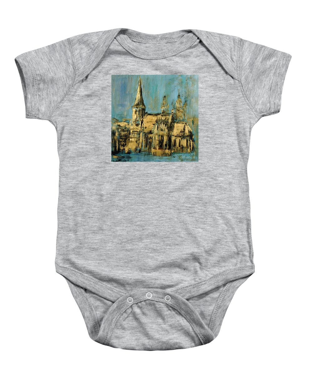 Church Baby Onesie featuring the painting Church by Arturas Slapsys