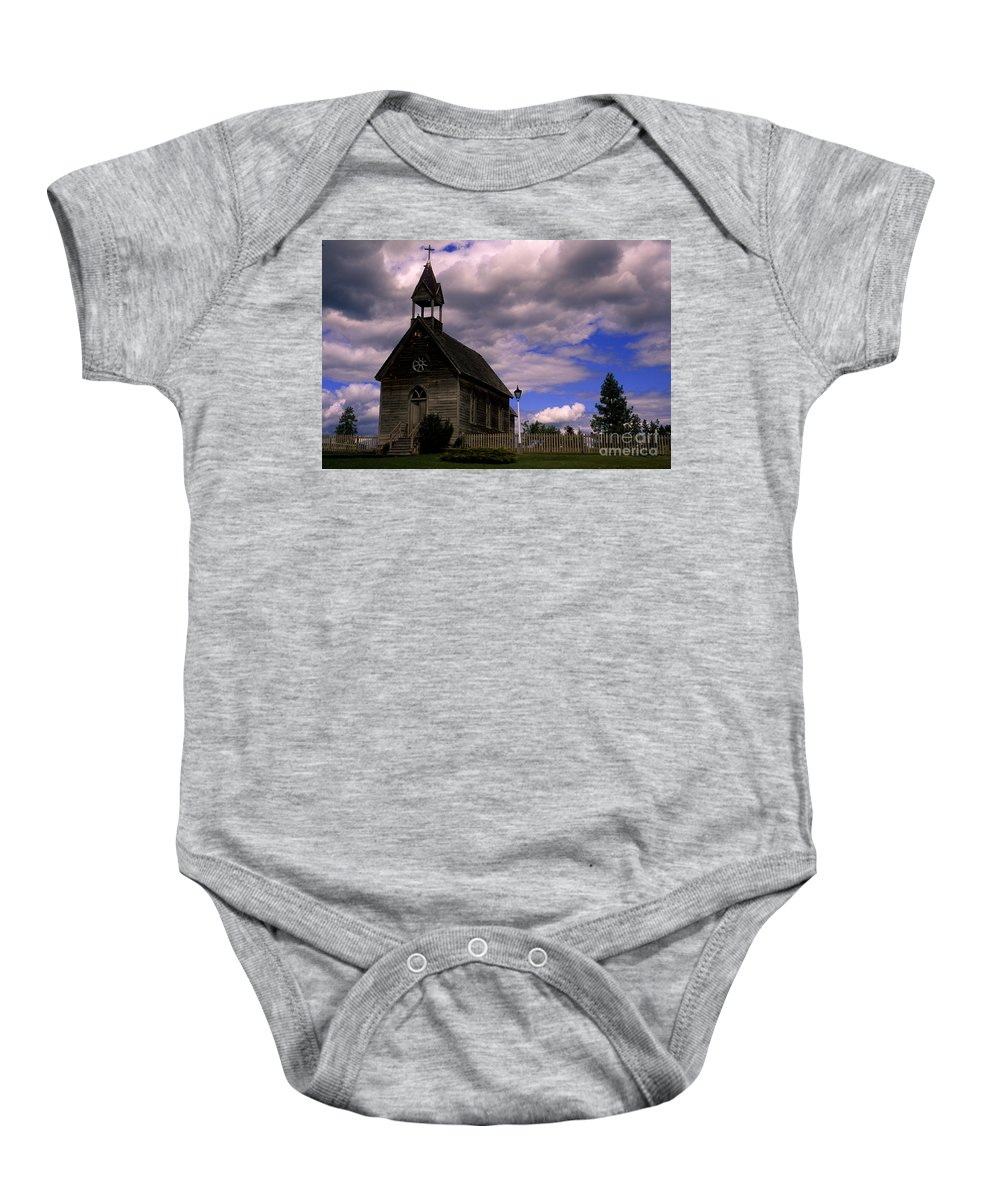 Okeefe Ranch Baby Onesie featuring the photograph Church At The Okeefe Ranch by Bob Christopher