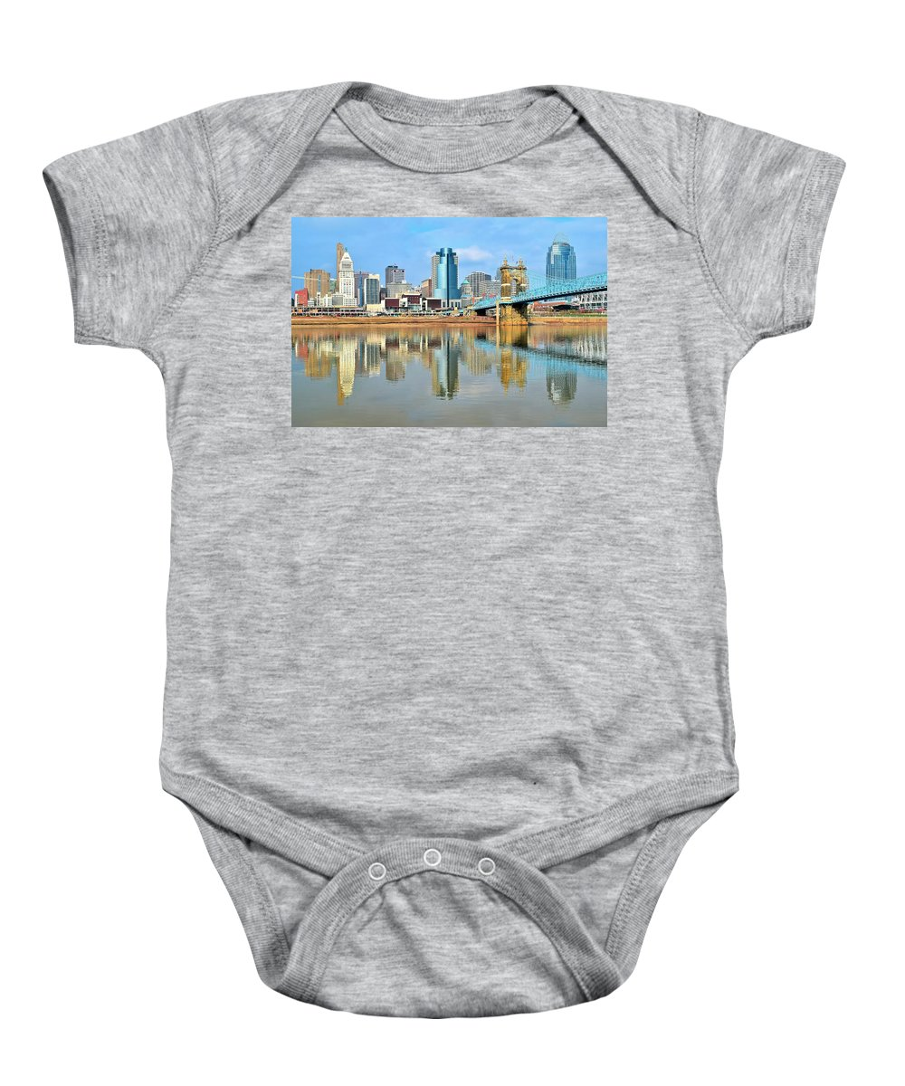 Cincinnati Baby Onesie featuring the photograph Cincinnati Reflects by Frozen in Time Fine Art Photography