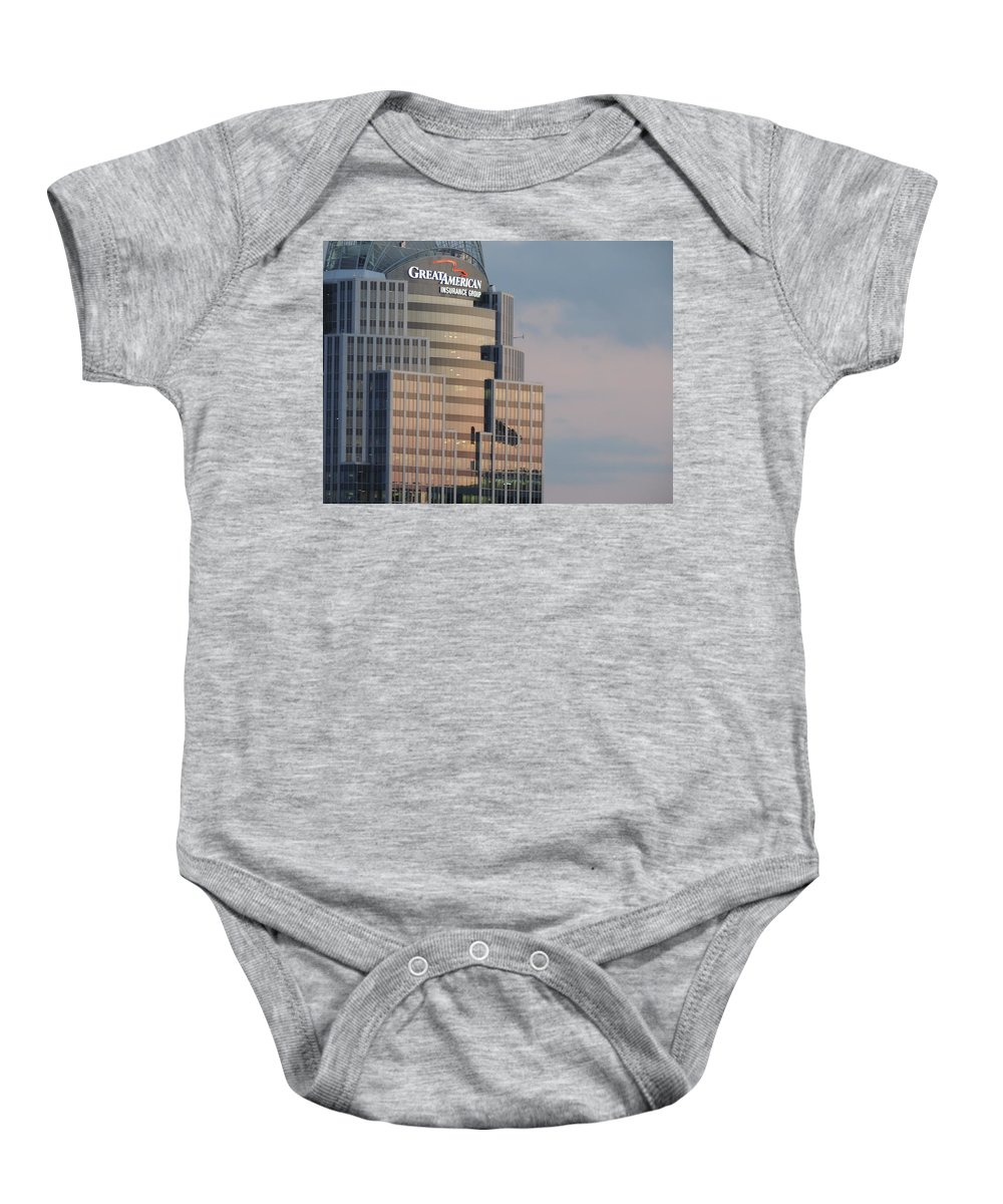 City Baby Onesie featuring the photograph Cincinnati Skyline At Sunset Form The Top Of Mount Adams 3 by Cityscape Photography
