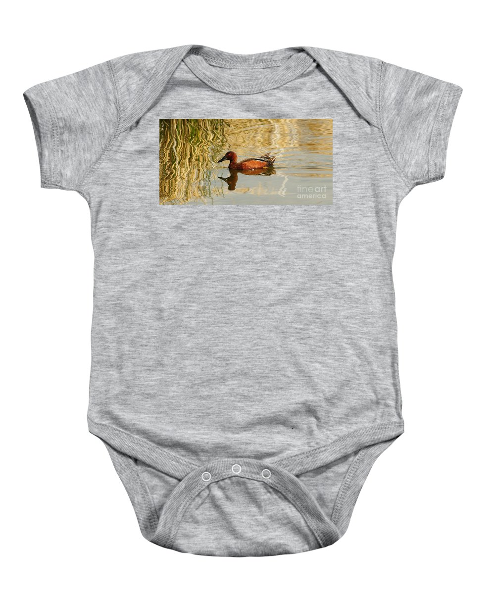 Cinnamon Teal Baby Onesie featuring the photograph Cinnamon Teal by Vivian Christopher
