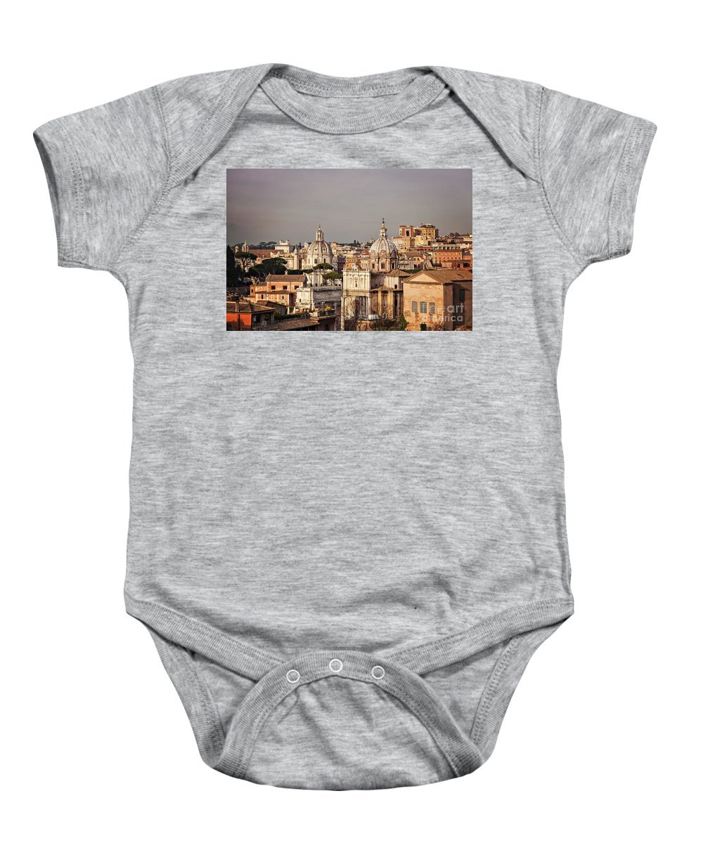 Rome Baby Onesie featuring the photograph City Of Rome At Dusk by Sophie McAulay