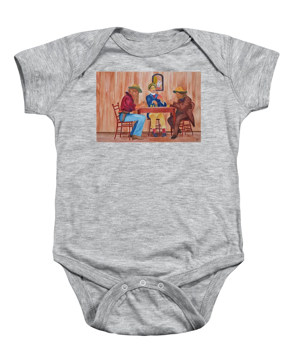 Cards Baby Onesie featuring the painting City Slicker by Phyllis Brady