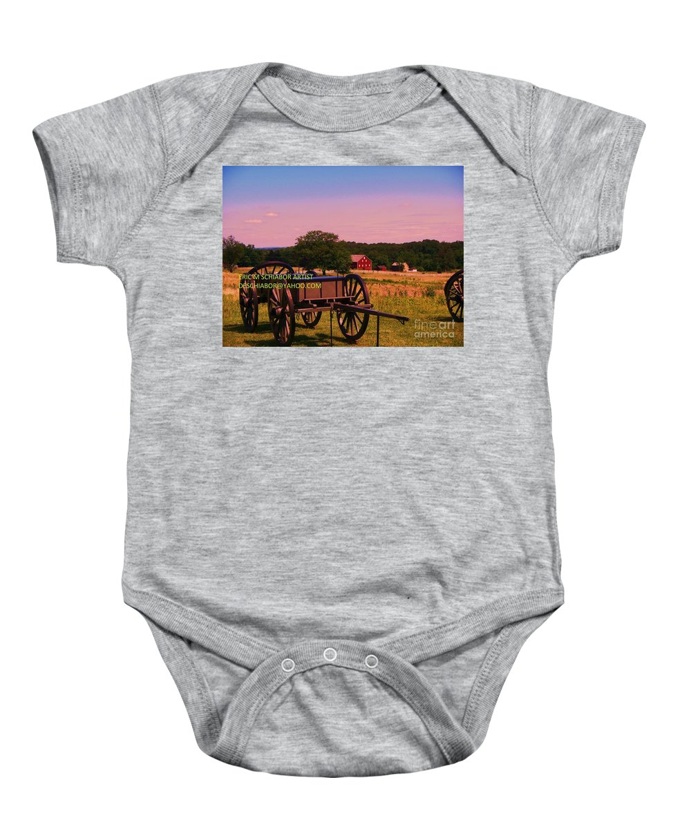 Civil War Baby Onesie featuring the photograph Civil War Caisson At Gettysburg by Eric Schiabor