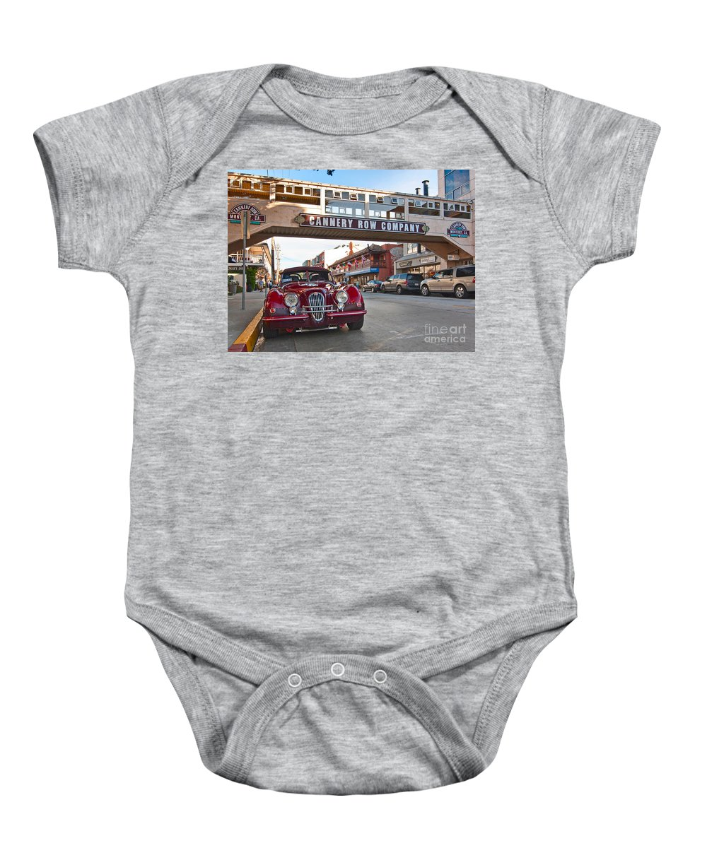 Cannery Row Baby Onesie featuring the photograph Classic Cannery Row - Monterey California With A Vintage Red Car. by Jamie Pham