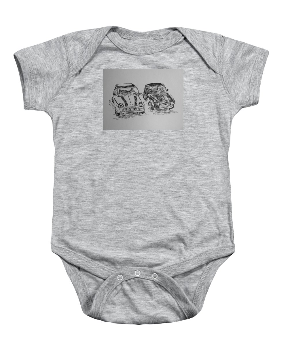 Mini Baby Onesie featuring the drawing Classic Minis by Victoria Lakes
