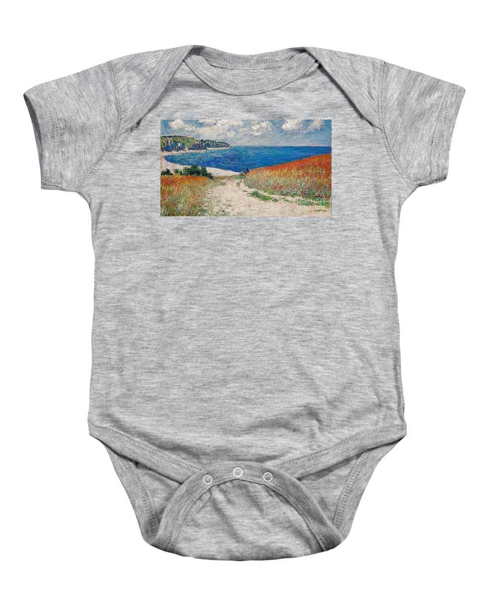 Path In The Wheat At Pourville Baby Onesie featuring the painting Claude Monet's Path In The Wheat Fields At Pourville-1882 by Doc Braham