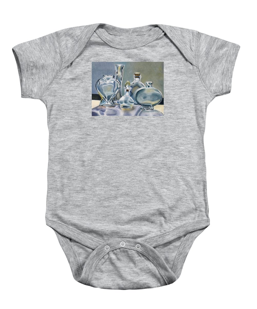 Glass Baby Onesie featuring the painting Clear Glass Bottles by Marilyn Healey