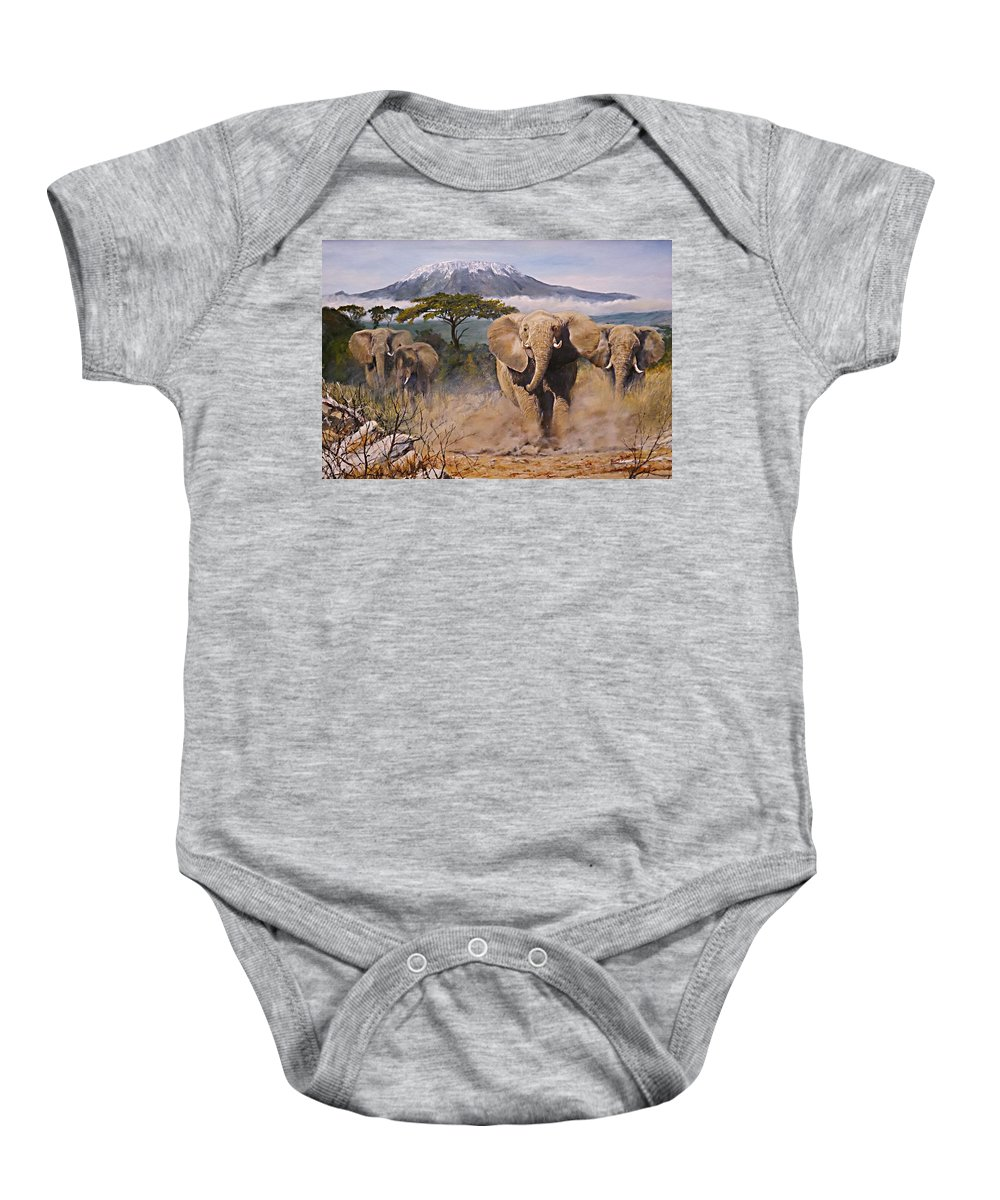 Elephant Baby Onesie featuring the painting Clearing The Way by Barry BLAKE