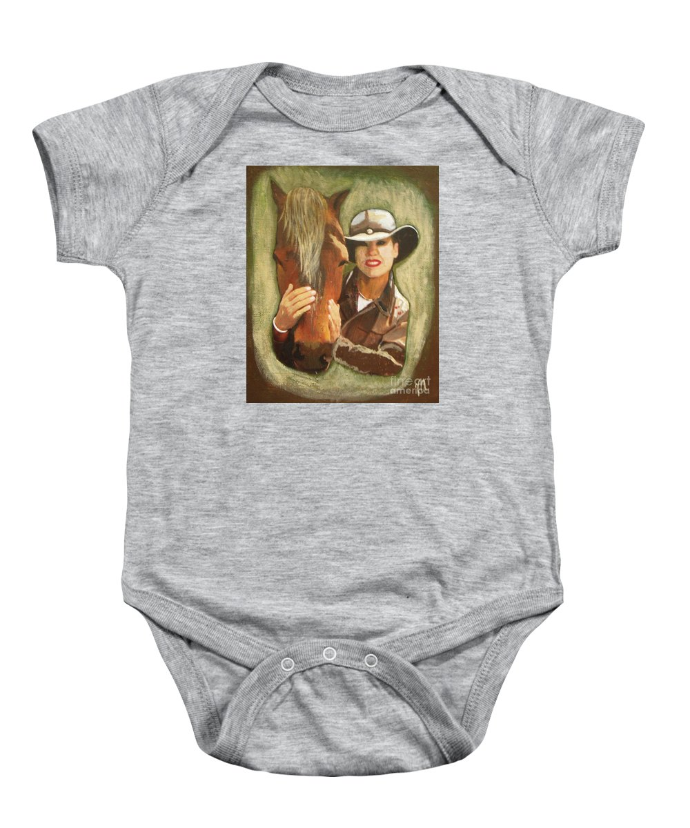 Horse Baby Onesie featuring the painting Close Friend by Vesna Antic
