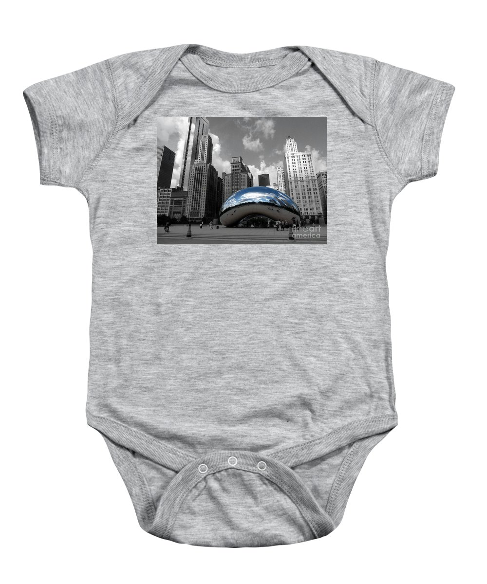 Chicago Baby Onesie featuring the photograph Cloud Gate B-w Chicago by David Bearden