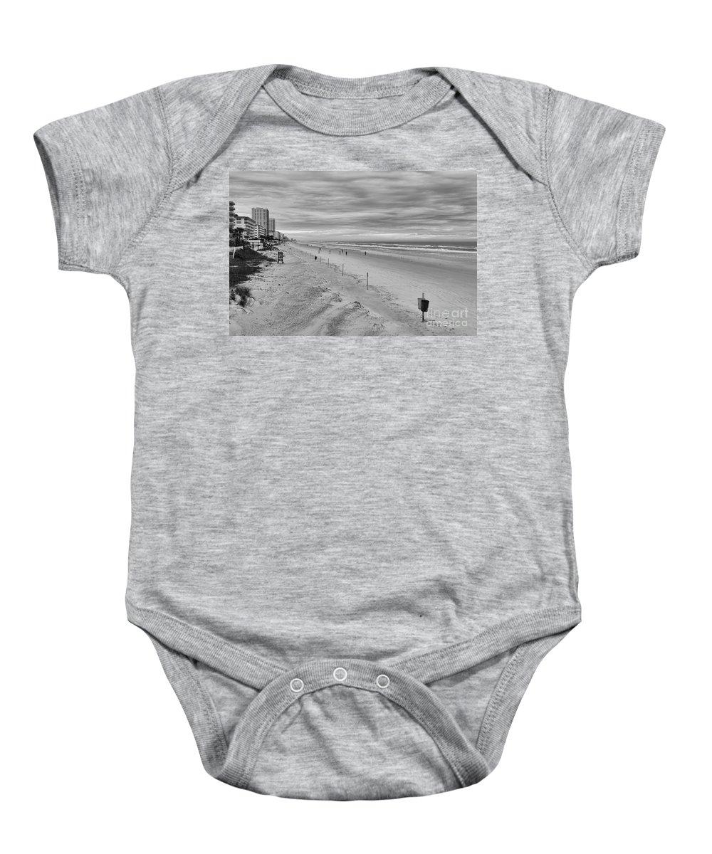 Beach Baby Onesie featuring the photograph Cloudy Beach Morning by Deborah Benoit