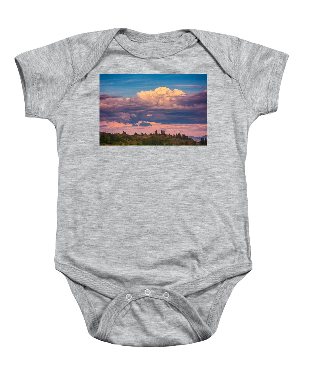 North Cascades Baby Onesie featuring the painting Cloudy Sunset by Omaste Witkowski