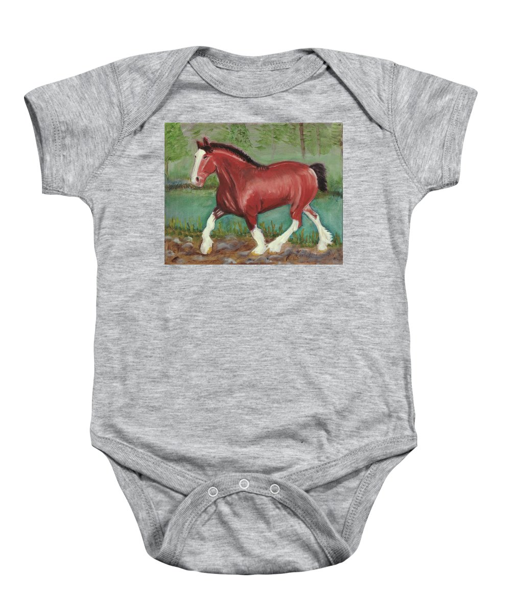 Horse Baby Onesie featuring the painting Clydesdale by Terry Lewey