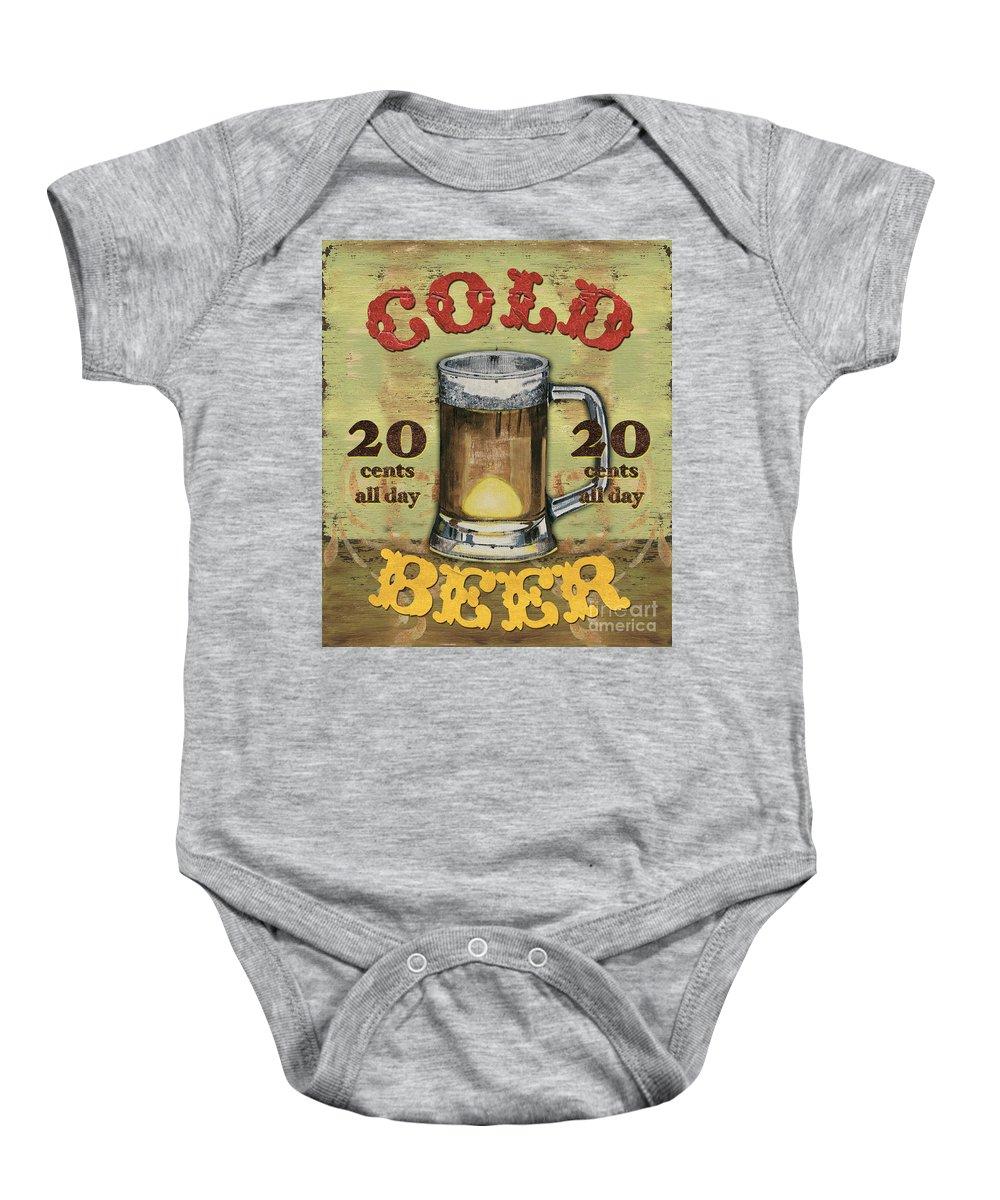 Food Baby Onesie featuring the painting Cold Beer by Debbie DeWitt