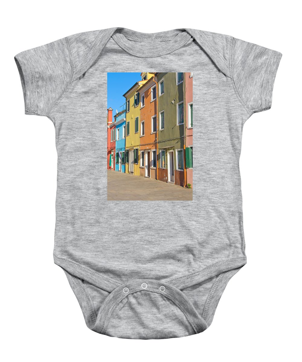 Architecture Baby Onesie featuring the photograph Color Houses In Row by Jaroslav Frank