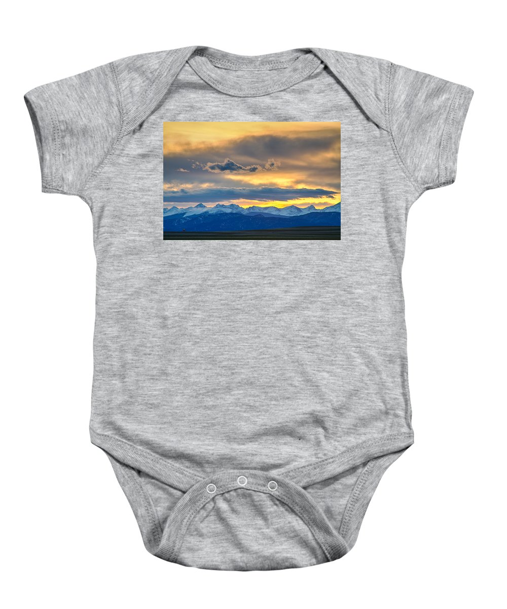 Colorado Baby Onesie featuring the photograph Colorado Rocky Mountain Front Range Sunset Gold by James BO Insogna