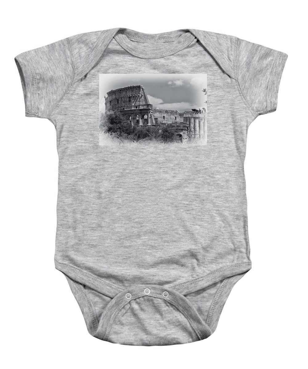 Colosseum Baby Onesie featuring the photograph Colosseum by David Pringle