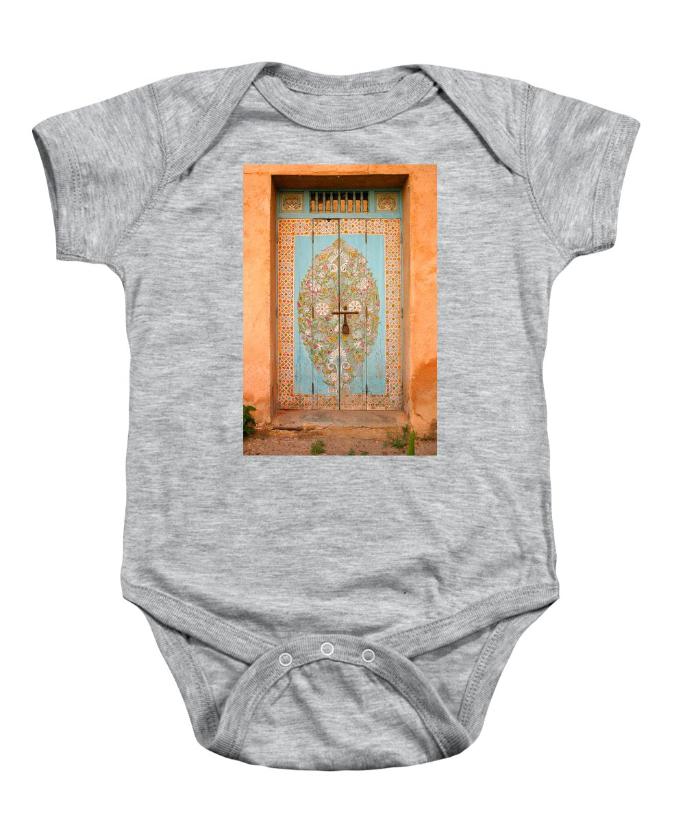 Door Baby Onesie featuring the photograph Colourful Moroccan Entrance Door Sale Rabat Morocco by Ralph A Ledergerber-Photography