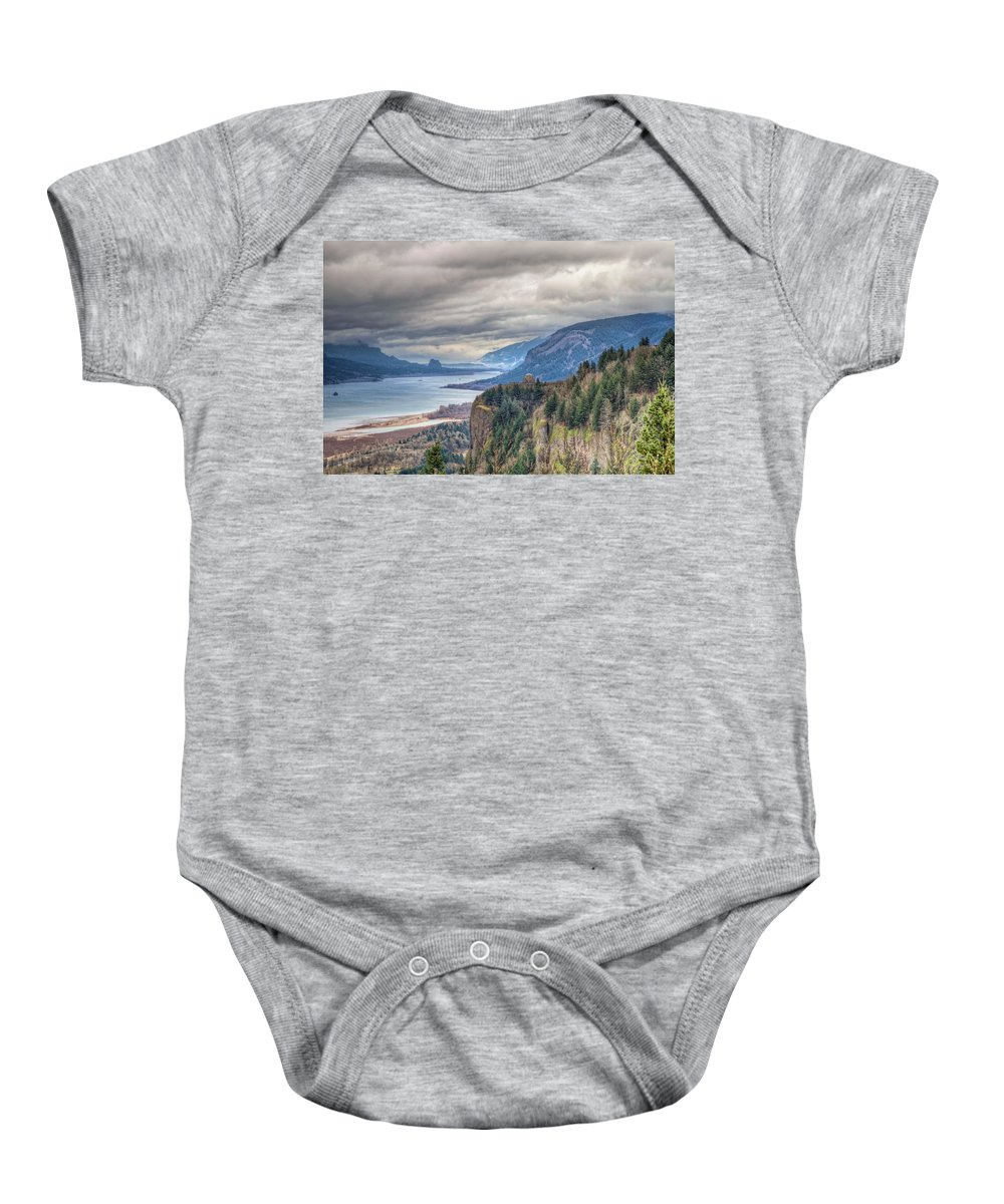 Columbia Baby Onesie featuring the photograph Columbia River Gorge Scenic View In Oregon by Jit Lim