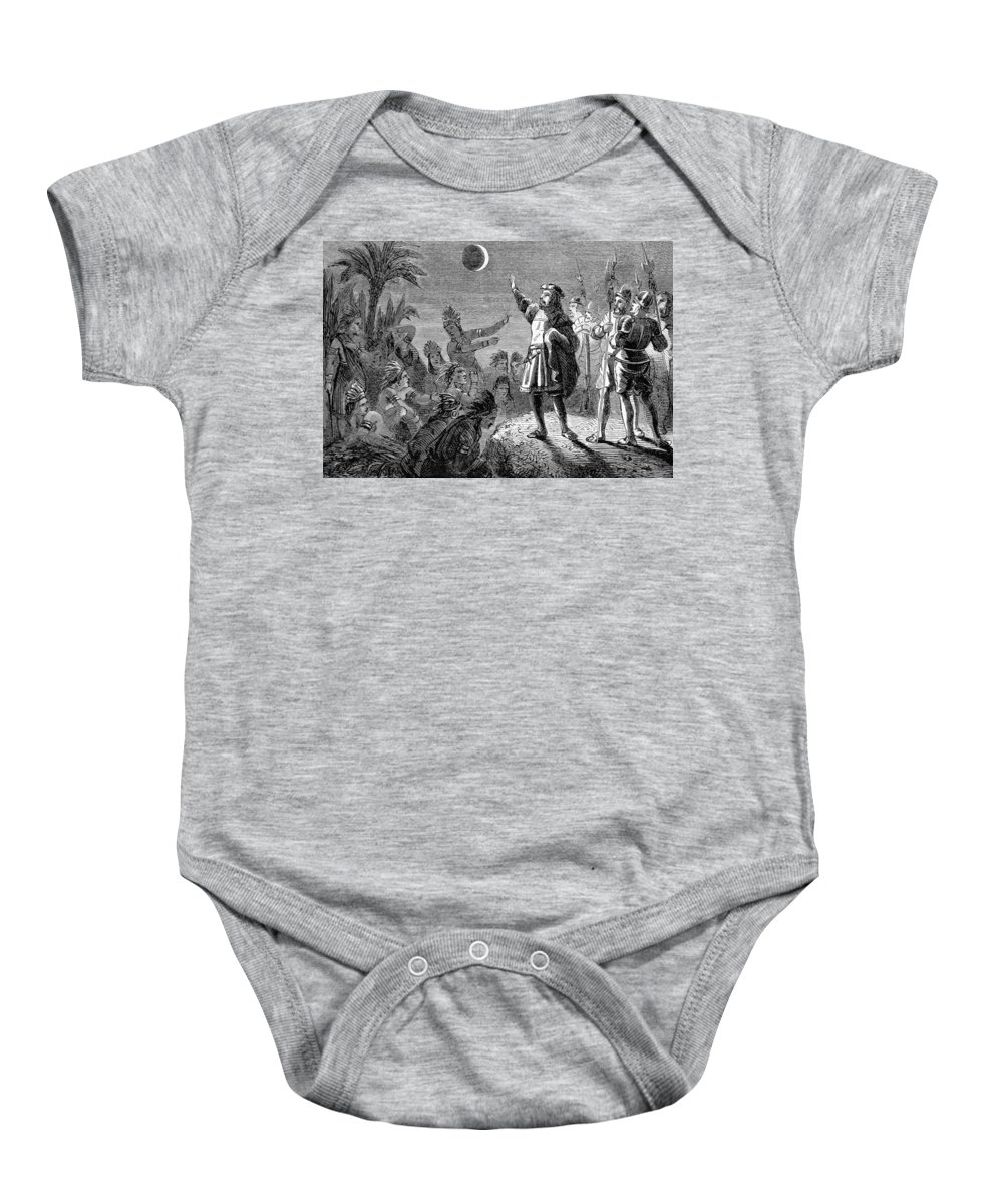 Science Baby Onesie featuring the photograph Columbus And The Lunar Eclipse, 1504 by British Library